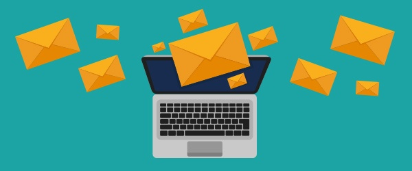 Computer sending emails using sales email templates - how to get started with sales enablement tools